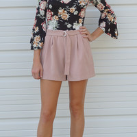 Pleated Suede High Waisted Shorts