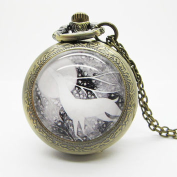 Vintage Glass Pocket Watch Necklace / Deer  Pocket Watch Necklace  - Buy 3 Get 4th One Free PW115