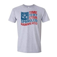 Time to Get Star Spangled Hammered T-shirt | USA Drinking Tee (Medium, Sports Grey)