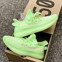 Adidas Yeezy Boost 350 V2 Fashionable Men Women Running Sport Shoes Sneakers (Luminous Soles) Green