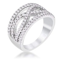 .4Ct Rhodium Plated Classic Twist Wide CZ Ring JGI