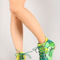 Bumper Vicky-01 Lace Up Toe Cap Ankle Bootie
