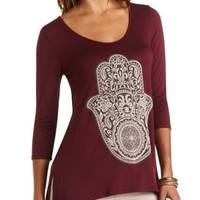 Hamsa Graphic Tunic Tee by Charlotte Russe - Oxblood