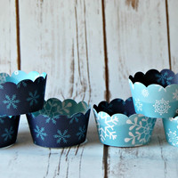 Snow Flake Party Theme Cupcake Wrappers