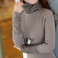 Lace long-sleeved sweater AS103D