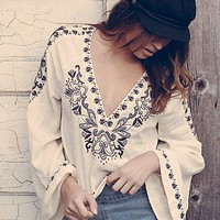 Free People Womens High Times Embroidered Top