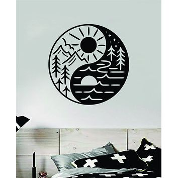 Yin Yang Adventure Wall Decal Home Decor Vinyl Sticker Art Bedroom Room Teen Baby Girls Yoga Mountains Travel