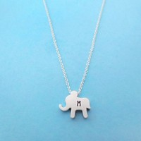 Personalized, Letter, Initial, Baby, Elephant, Dumbo, Silver, Necklace