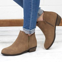 Zoey Vertical Zipper Leatherette Bootie {Taupe}