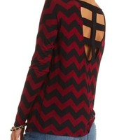 Caged Back Long Sleeve Tunic Top by Charlotte Russe - Red Combo