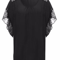 Casual Solid Lace Patchwork Batwing Sleeve T-Shirt For Women