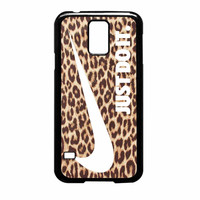 Nike Just Do It Leopard Pattern White Samsung Galaxy S5 Case