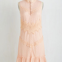 Pastel, Vintage Inspired, 20s, French Mid-length Sleeveless Shift Fortress of Fashion Dress by ModCloth