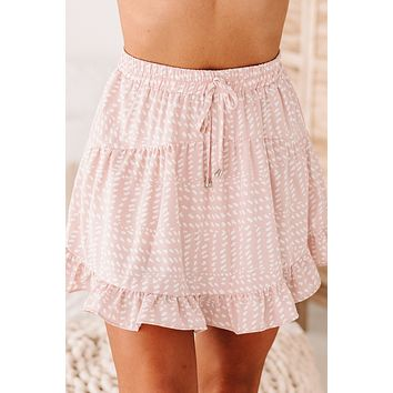 Be Sincere Spotted Ruffle Skort (Rose)