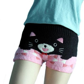 Japanese Kawaii Womens Knitted Shorts Animal pattern high waist warm Sleep Shorts Harajuku Physiological period stretchy Shorts