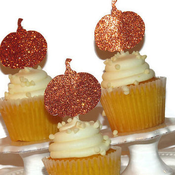 Pumpkin Cupcake Toppers, Halloween Party Decorations, Glitter Pumpkins, Fall Decor, Autumn, 12CT, Thanksgiving Table Decorating Ideas