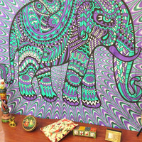 Trendyystuff Jaipurhandloom Christmas Gift Hippie Elephant Tapestries, Large Size Tapestry Wall Hanging, Mandala Tapestries, Bohemian Tapestries, Wall Tapestries, Dorm Decor, Queen Bed Cover Bedding