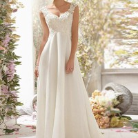 New Fashionable A Line Sexy Bridal Dress Backless Appliqued Beaded Wedding Dress Bridal Gown For Women