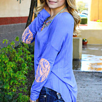ARIEL LACE PATCH TOP IN PURPLE