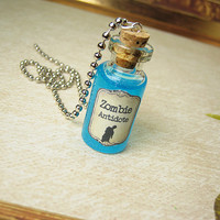 Zombie Antidote 2ml Glass Bottle Necklace - Walking Dead Virus Antivirus Cure - Halloween Potion Vial Pendant Charm
