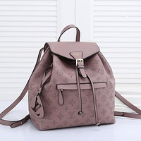 LV Louis Vuitton solid color sewing letters ladies backpack school bag Daypack
