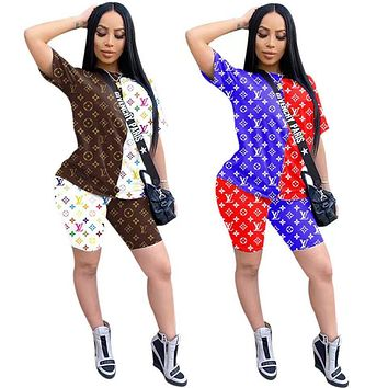 Louis Vuitton LV Women With short sleeves Top Pants shorts Two-Piece