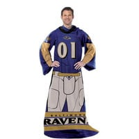 Baltimore Ravens NFL Uniform Comfy Throw Blanket w- Sleeves