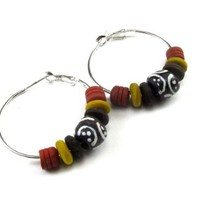 Olive Wood Earthtone Dyed Beads with African Sand Cast Bead Hoop Earrings