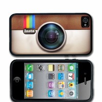 Instagram iPhone 4 case iPhone 4s Case Silicone Black or White Personalized with your name.