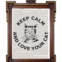 KEEP CALM and Love Your Cat Quote Upcycled Art by TreasuresByUs