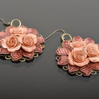 Handmade polymer clay round earrings with roses in vintage style