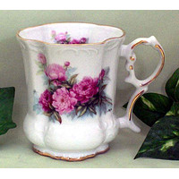Set of 2 Peony Victorian Tankards Floral Mugs