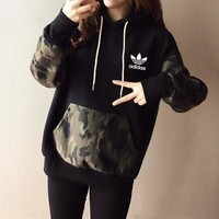 """Adidas"" Women Casual Multicolor Camouflage Hooded Long Sleeve Sweater Sweatshirt Tops"