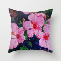 Hibiscus Throw Pillow by Morgan Ralston