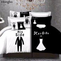 Hongbo Brief White Black Printing Duvet Cover With Pillowcase Queen 3 Pcs Bed Linen Bedding Sets (No Sheet No Filling)