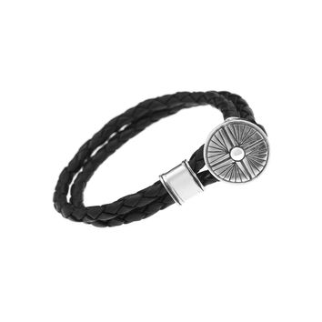 Gather Dust to Build a Mountain Sterling Silver Leather Bracelet