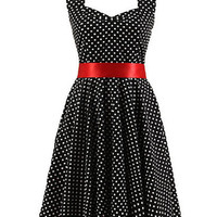 Black Polka Dot Halter Backless Sweetheart Neck Bow Lace Belted A-line Pleated Mini Dress