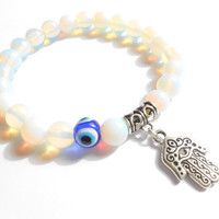 Hamsa Evil Eye Mala bracelet Yoga Reiki Meditation Protection Spiritual Chakra White Gemstone Elastic beaded bracelet Unique Birthday gift