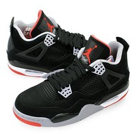 "Nike Mens Air Jordan 4 Retro ""Bred"" Black/Cement Grey-Fire Red Suede Basketball Shoes Size 9"