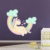Unicorn Wall Decal Unicorn Wall Decor Unicorn Wall Sticker Rainbow Clouds Wall Decal Stars Wall Decal Nursery Decor cik2262