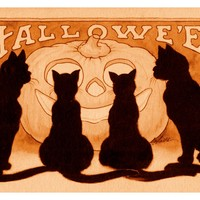Vintage Halloween Black Cats and a Carved Counted Cross Stitch Pattern