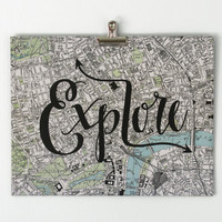 Hand Lettered Map Print EXPLORE Typography 11x14 8x10 Travel City London Map