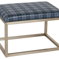 """Chris 24"""" Leather Bench, Blue Plaid, Entryway Bench, Bedroom Bench"""