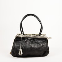 KUYOU Christian Louboutin Black Python Trim  Kathena  Bag