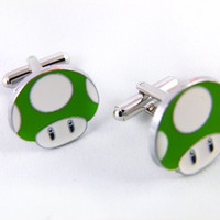 1UP Green Mushroom Cuff Links by angelyques on Etsy