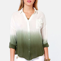 Wise Dyes Olive Green and Ivory Ombre Top