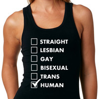 LGBT Tank Top Straight Lesbian Gay Bisexual Trans Human LGBT Pride Tank Top Collection