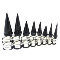 24 Pieces Tapers and Plugs Gauges kit 00G-20mm Big Gauges Black Tapers and Steel Tunnels Plugs