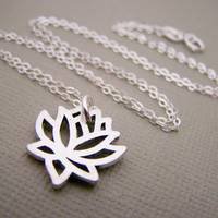 Lotus Flower Neckalce - Yoga Necklace - Sterling Silver Necklace - Dainty Necklace - Everyday Jewelry - Simple Jewelry - Gift For Her