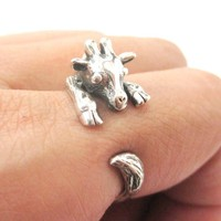 Realistic Giraffe Shaped Animal Wrap Around Ring in 925 Sterling Silver   US Sizes 4 to 8.5